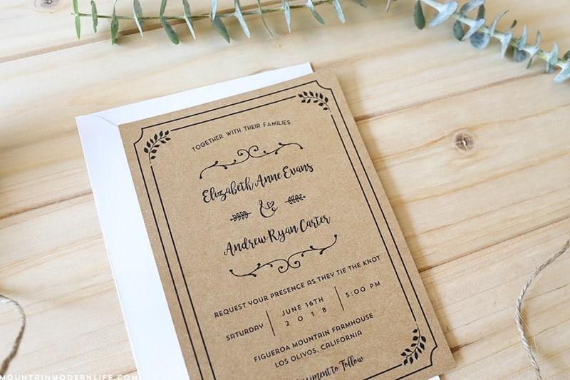 free-whimsical-wedding-invitation-on-kraft-paper-mountainmodernlife.com
