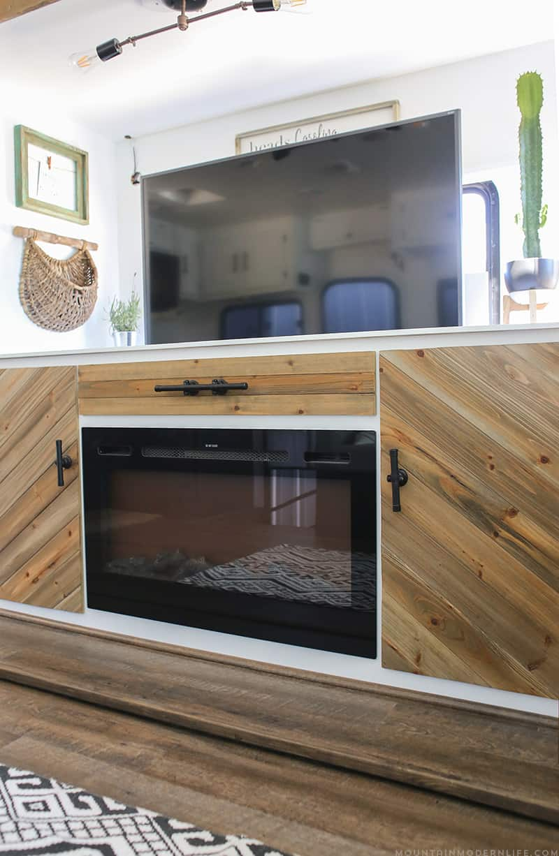 TV lift installed in RV