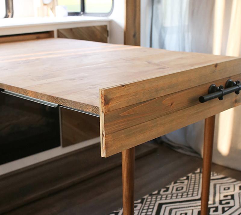 sliding drawer table in RV