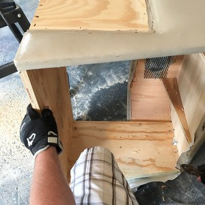 removing-staples-from-rv-tv-cabinet-above-windshield-mountainmodernlife.com