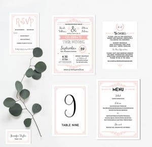 Printable Blush Pink Wedding Invitation Set   MountainModernLife.com