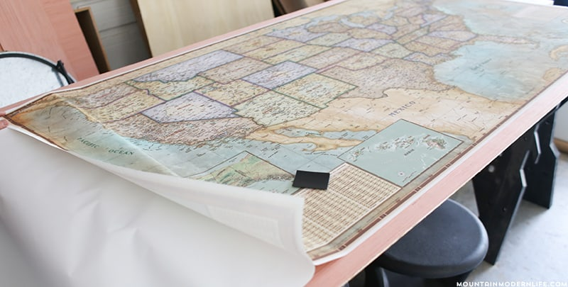 attaching map to plywood
