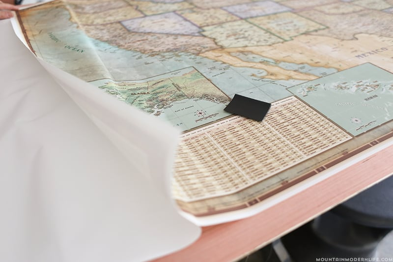 securing map to plywood