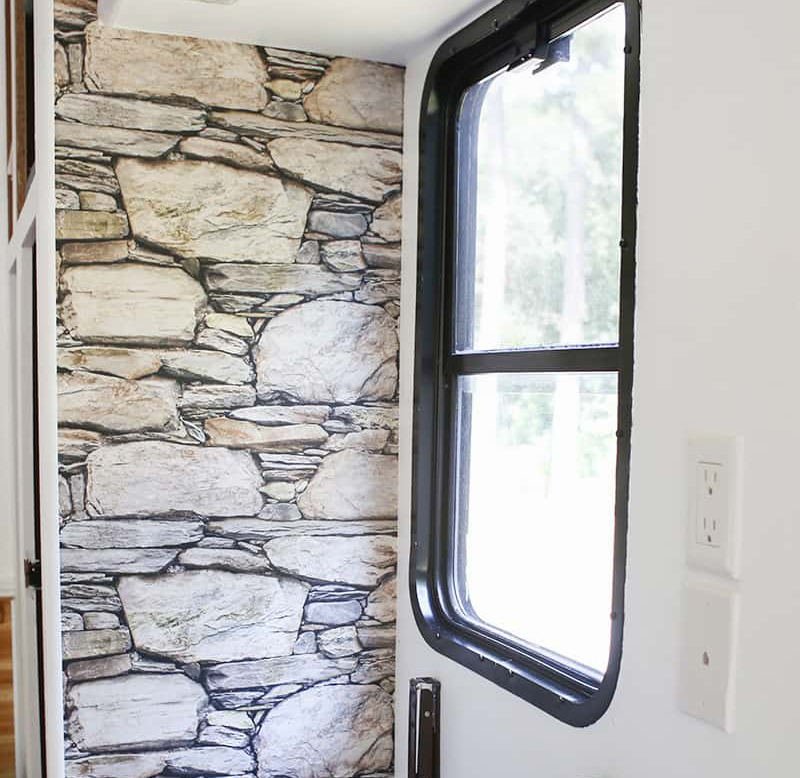 Looking for a non-permanent way to spruce up your RV walls? This wallpaper is lightweight, easily removable, and a great solution for the indecisive! Perfect for creating a temporary rustic accent wall. MountainModernLife.com