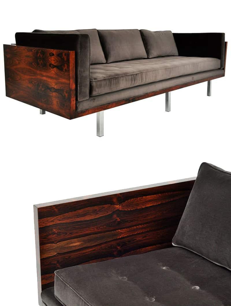 Modern Rustic Sofa Designs   Mid-Century Modern Rosewood Milo Baughman Sofa