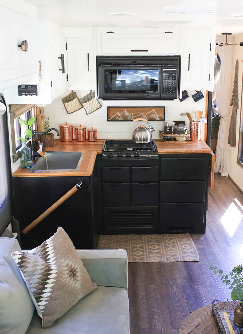 Thinking about updating the kitchen in your RV? Come see how we made a huge impact in our motorhome with our RV kitchen renovation!   MountainModernLife.com