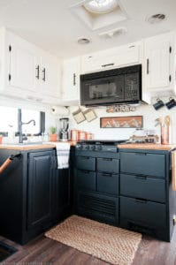 RV Kitchen Remodel with black cabinets | MountainModernLife.com