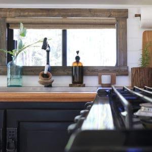 Black and white RV Kitchen renovation