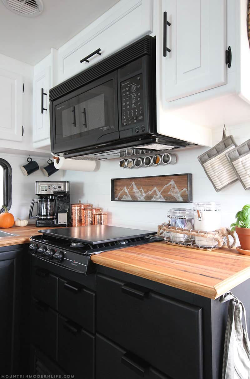 Thinking about updating the kitchen in your camper? Come see how we made a huge impact in our motorhome with our RV kitchen renovation! | MountainModernLife.com