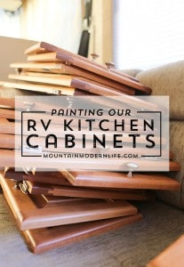 Planning to paint your tiny kitchen and considering using black? Check out these two-toned painted RV kitchen cabinets!