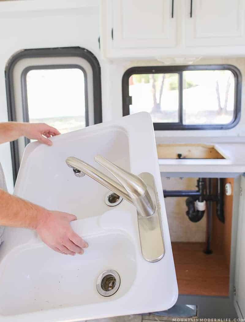 See how easy it is to remove your RV Kitchen Sink, in case you need to set it aside, clean it or replace it. MountainModernLife.com