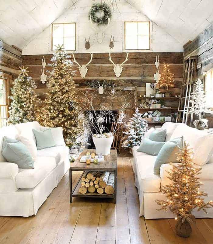 Rustic Lodge Christmas Trees   Suzanne Kasler