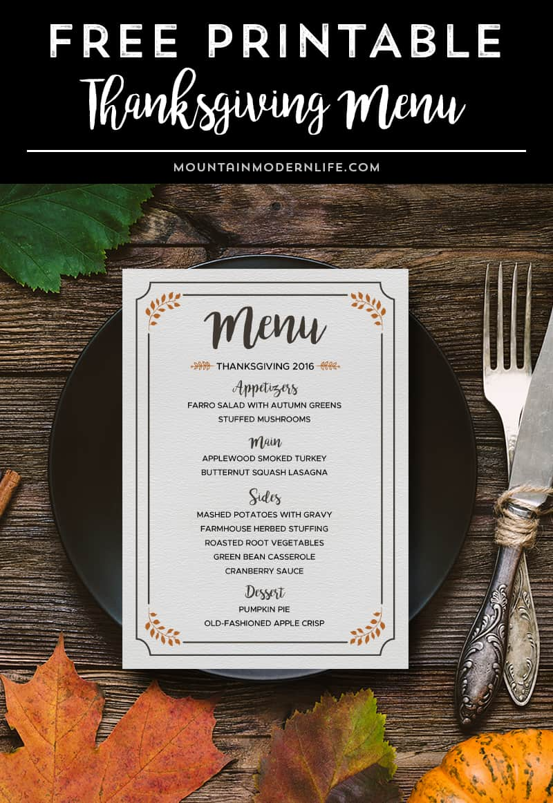 FREE Printable Thanksgiving Menu