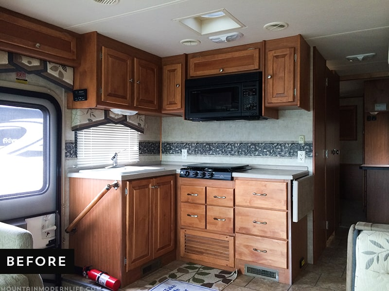 Looking for an affordable way to update your kitchen counters? Check out this post on how to Create Wood Counters from Flooring (in a RV)!