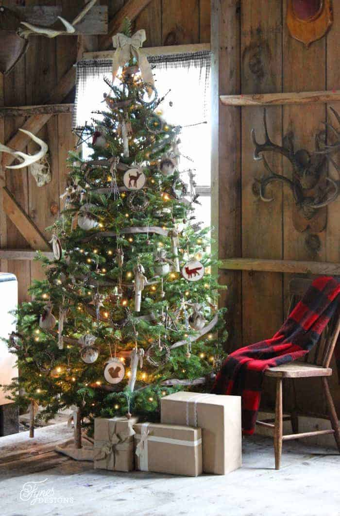 25 of the Most Inspiring Rustic Christmas Trees - Rustic Christmas Tree   Fynes Designs