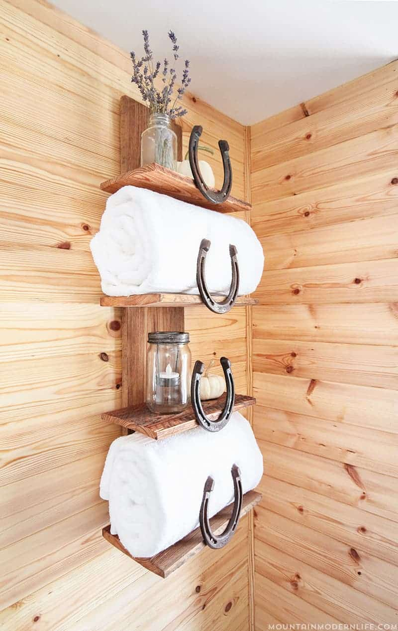 Rustic Horseshoe Bathroom Storage - 10 Favorite Posts of 2016 | MountainModernLife.com