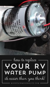 new rv water pump installed in RV