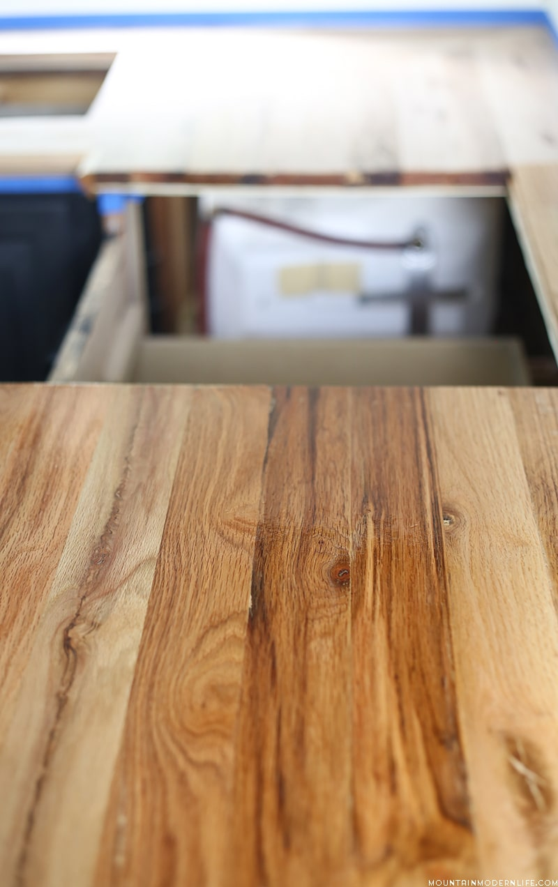 Looking for a Natural Way to Seal Wood Counters? See how we protected our RV kitchen countertops using Tung Oil which is food safe and water resistant!
