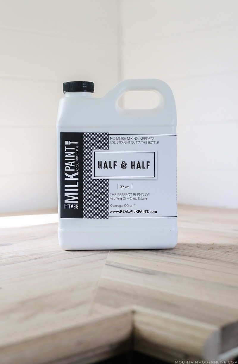 Looking for a natural wood sealer for your counters? See how we protected our RV kitchen countertops using Tung Oil which is food safe and water resistant! MountainModernLife.com