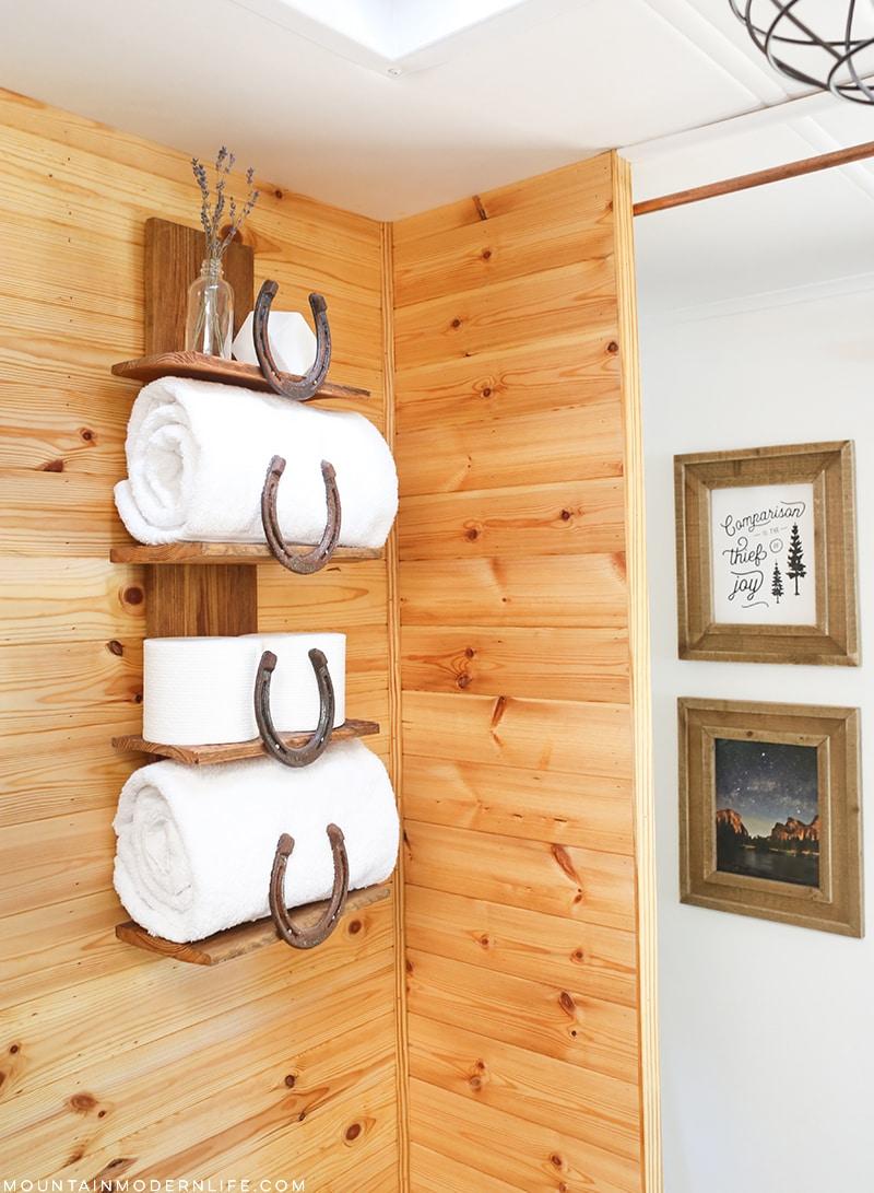 DIY Horseshoe Rustic Bathroom Shelf