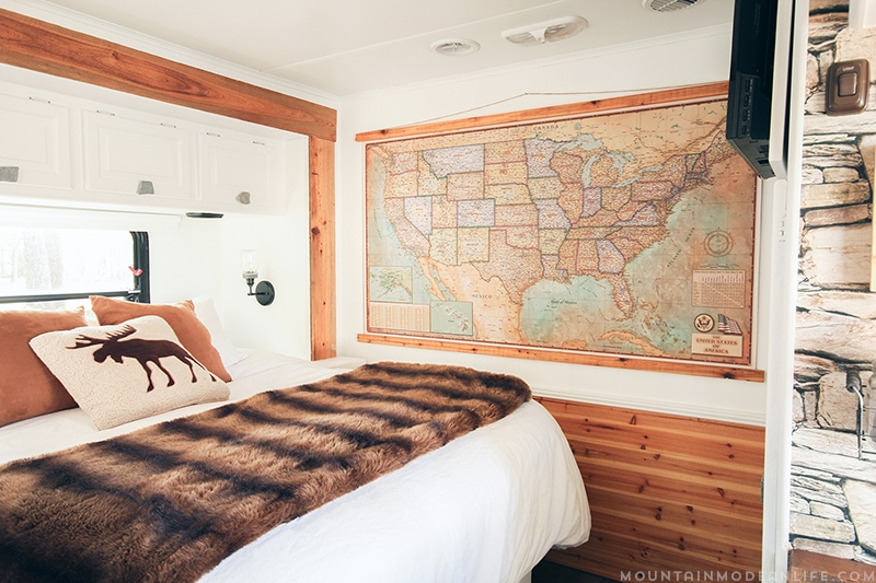 vintage style map hanging in RV