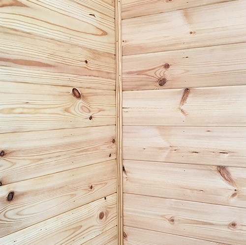 Pine planked walls in RV | MountainModernLife.com