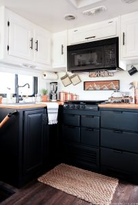Two-toned cabinets in RV | MountainModernLife.com