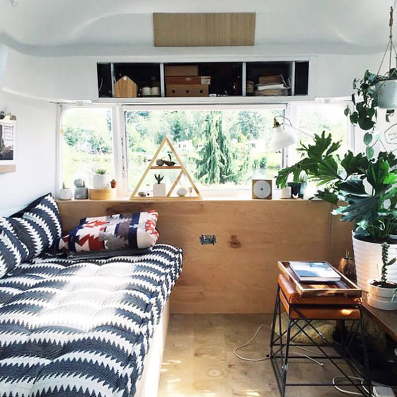 If white paint, various wood tones, and lots of texture is your thing, you'll love these rustic camper remodels! Photo Source: Tin Can Homestead