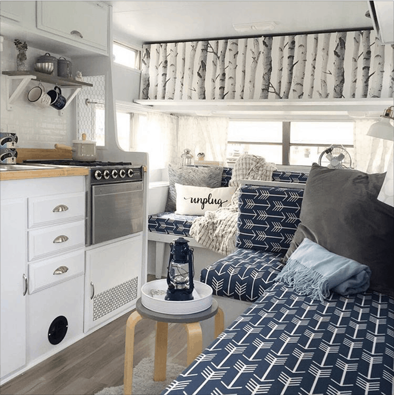 If white paint, various wood tones, and lots of texture is your thing, you'll love these rustic camper remodels! Photo Source: myrtlesmakeoveryyc