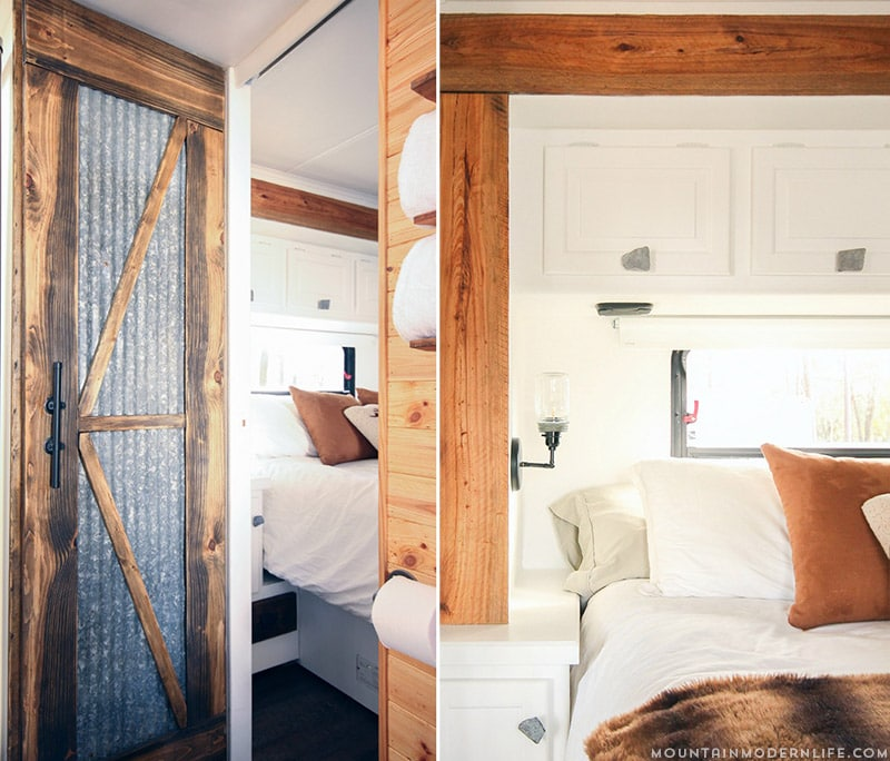 If white paint, various wood tones, and lots of texture is your thing, you'll love these rustic camper remodels! Photo Source: MountainModernLife