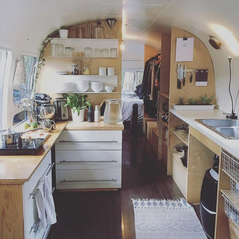 If white paint, various wood tones, and lots of texture is your thing, you'll love these rustic camper remodels! Photo Source: Thrive in Life