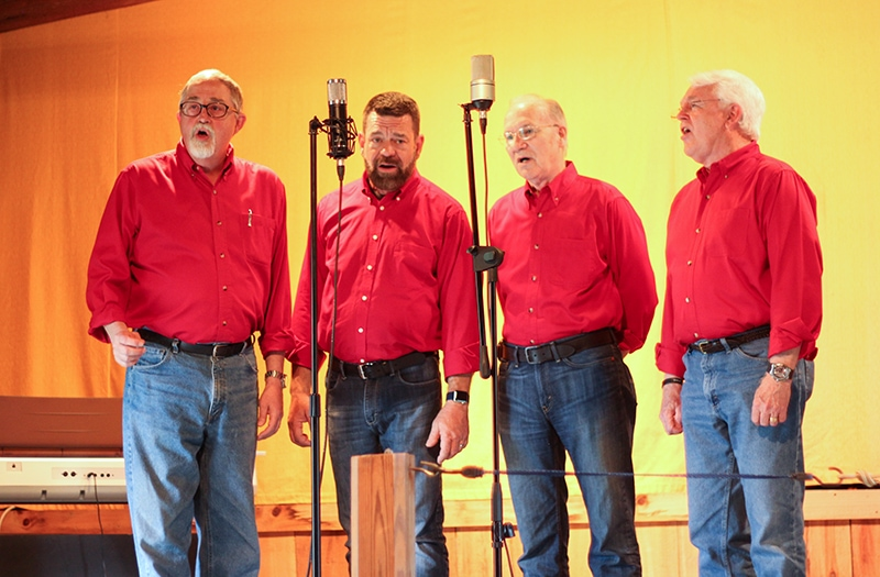 Barbershop Quartet performing at Mountain View Campground Music Barn