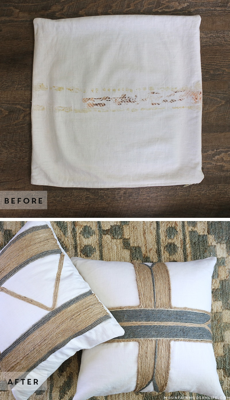 Ready to reimagine what you already have? See how easy it is to create these no-sew rustic pillows! MountainModernLife.com