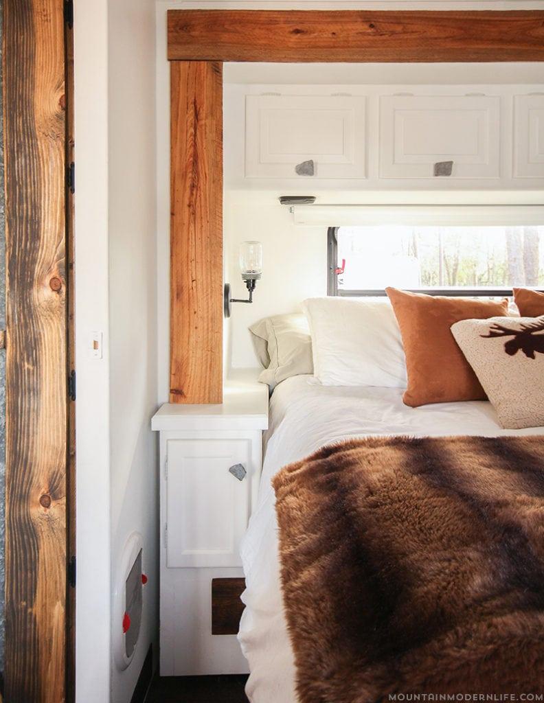 Rustic RV Bedroom with faux fur blanket