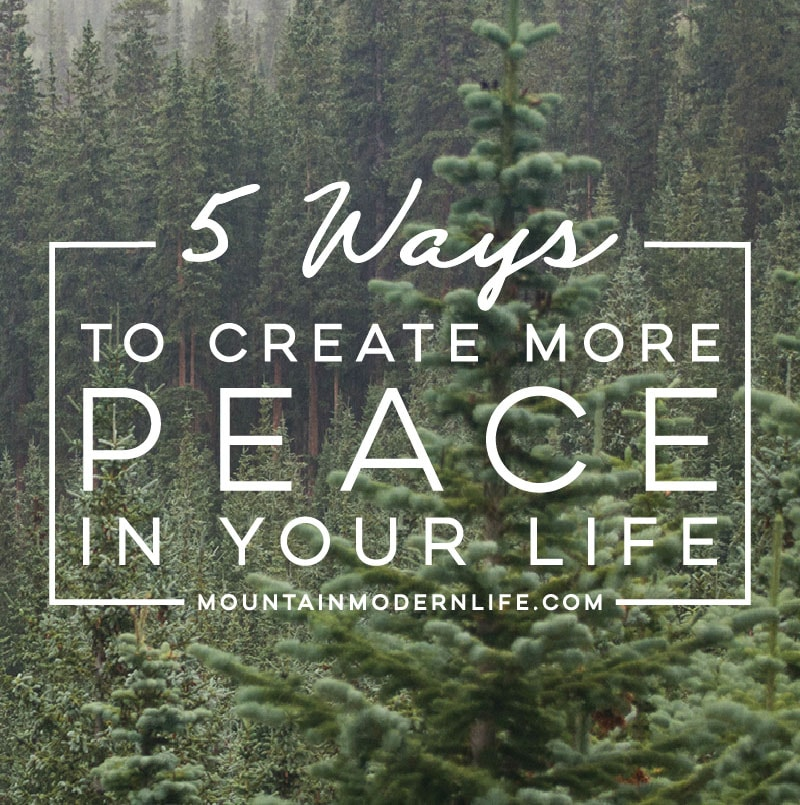 Looking for ways to create more peace in your life? Here are 5 tips to help guide you along the way. MountainModernLife.com