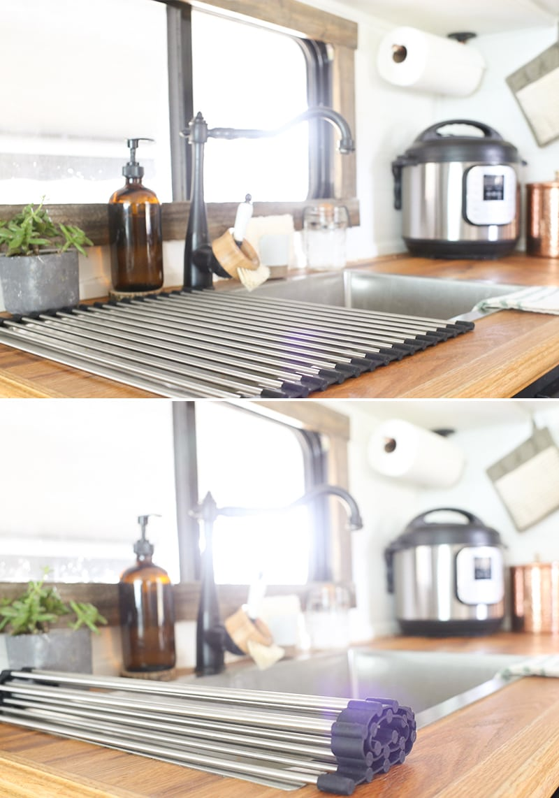 Looking for ways to maximize the space in your RV? Here are some tips for Organizing a Tiny Kitchen! MountainModernLife.com