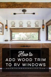 RV windows with wood trim