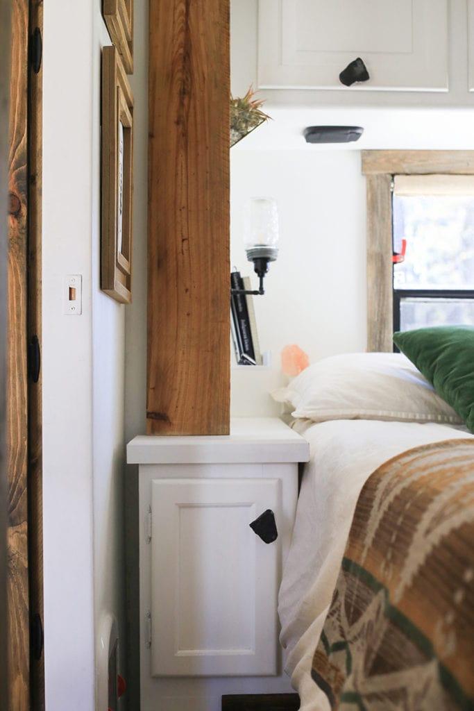Renovated RV bedroom
