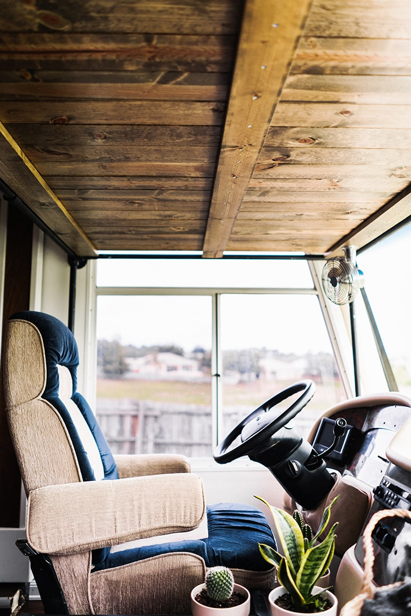 motorhome renovation with wood ceiling