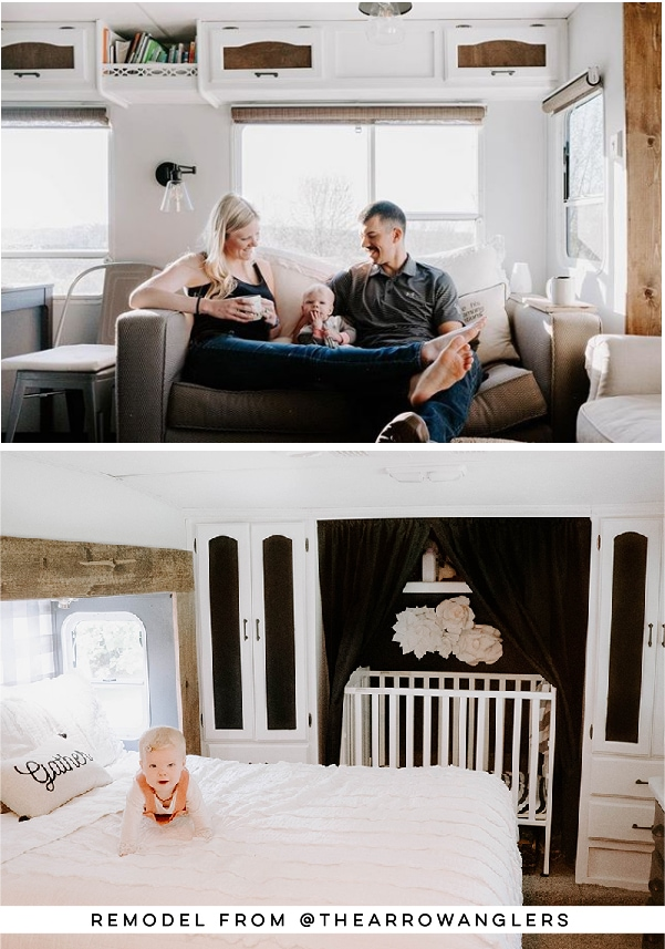 Tour this modern farmhouse-inspired fifth wheel from The Arrow Anglers over at MountainModernLife.com!