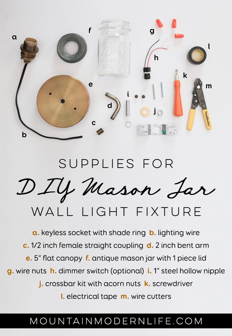 Supplies Needed for DIY Mason Jar light fixture from MountainModernLife.com