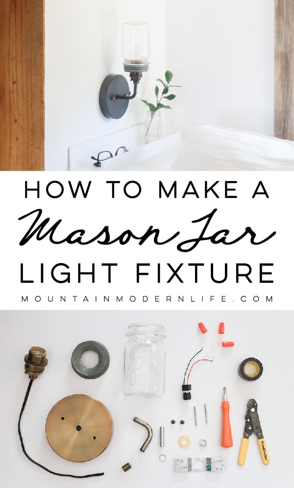 DIY Mason Jar Light Fixture - See how easy it is to create this wall sconce with a dimmer switch, perfect for adding a rustic touch to your home or RV! MountainModernLife.com