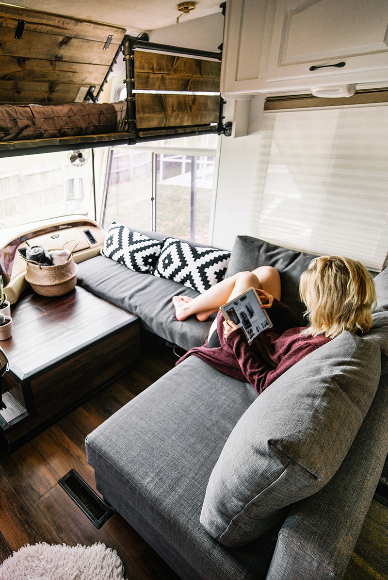 RV passenger chair replaced with sofa