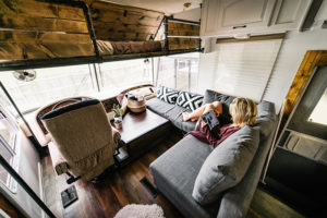 Camper Design Vibes: Tour this innovative, Rustic Modern Motorhome that was renovated by This Little Adventure! You're gonna love this tiny home on wheels! MountainModernLife.com
