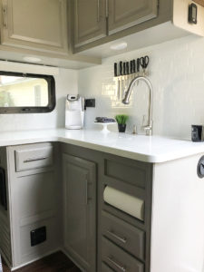 Tour this stunning fifth wheel transformation featured on (Camper) Design Vibes! MountainModernLife.com   Photo Source: Mrs_Elliluu (Instagram)