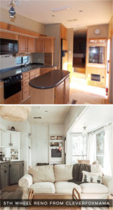 Tour thistiny home that feels more like a cozy cottage than a camper! Photos from CleverFoxMama (Instagram)