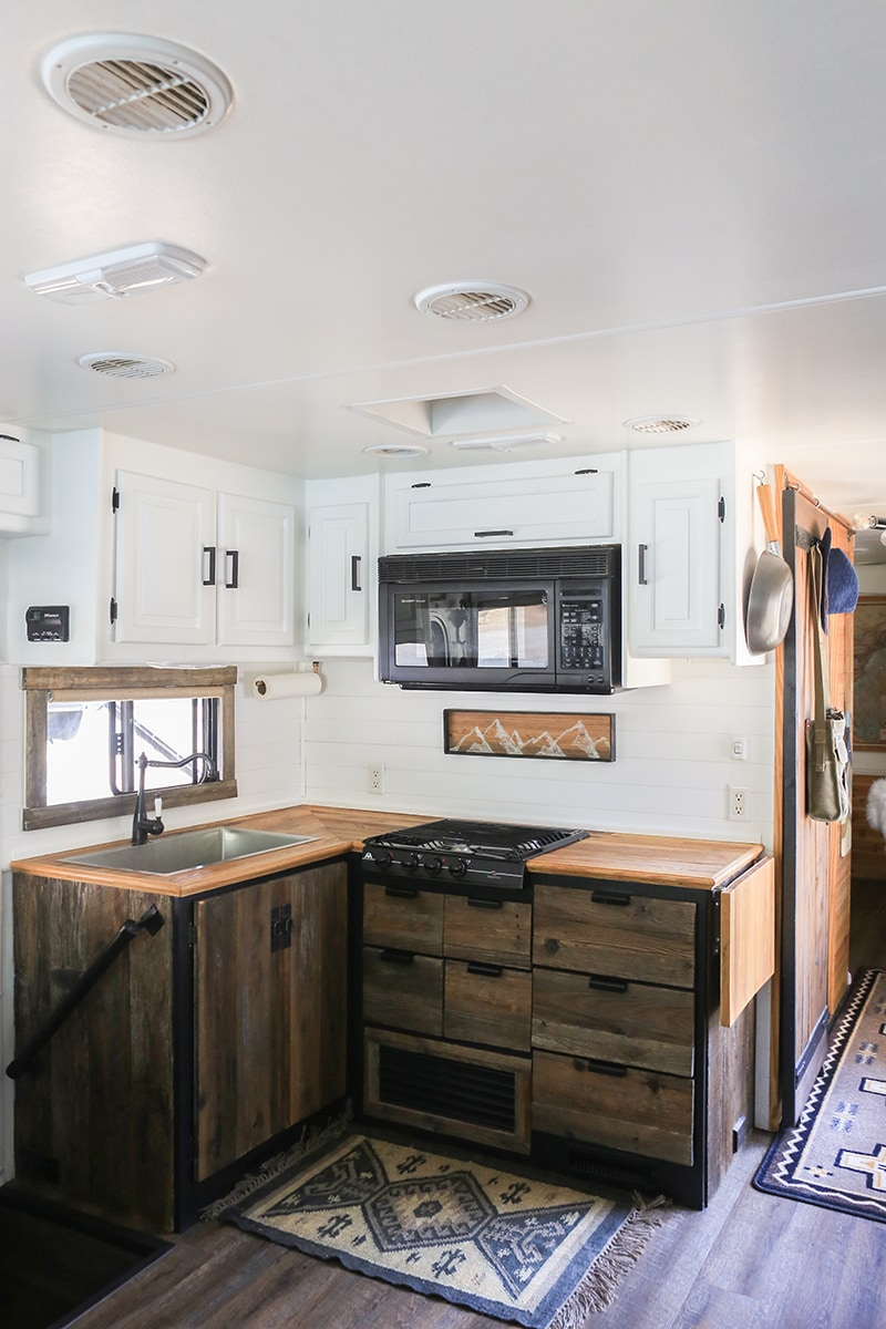 RV Kitchen with Reclaimed Kitchen Cabinets