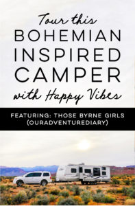 Thinking about traveling with your family? Tour this beautiful, bohemian-inspired camper that belongs to a family of 6! / Photos from ThoseByrneGirls / Featured on MountainModernLife.com