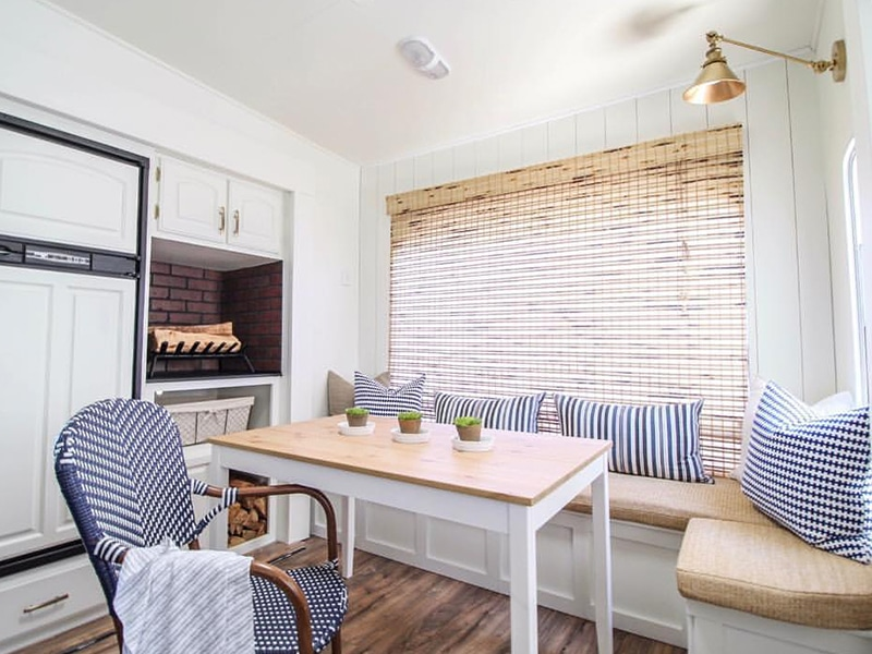 Camper Tour: See how RVFixerUpper transforms drab 5th wheels into stylish tiny homes with modern farmhouse vibes! MountainModernLife.com