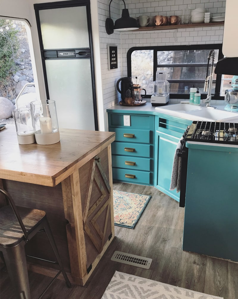 You're going to love this modern and eclectic camper tour from Our Tiny Abode!